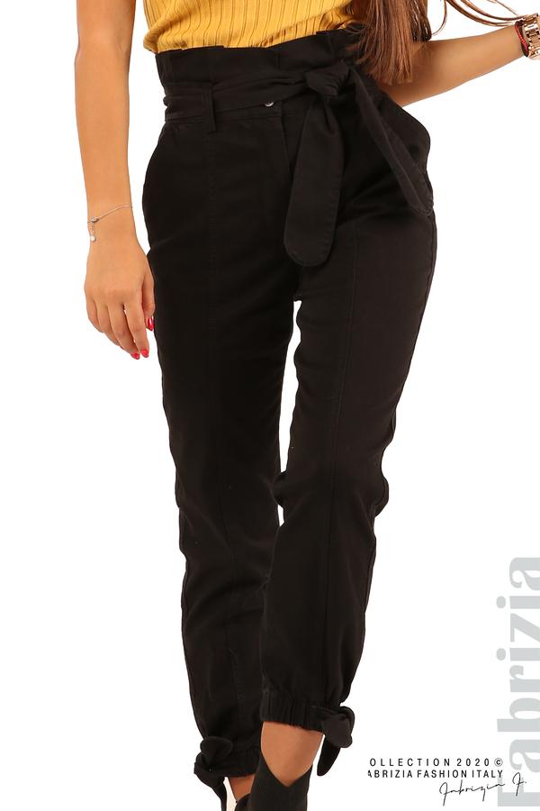 Широк панталон с акцент на талията и крачолите-черен-3