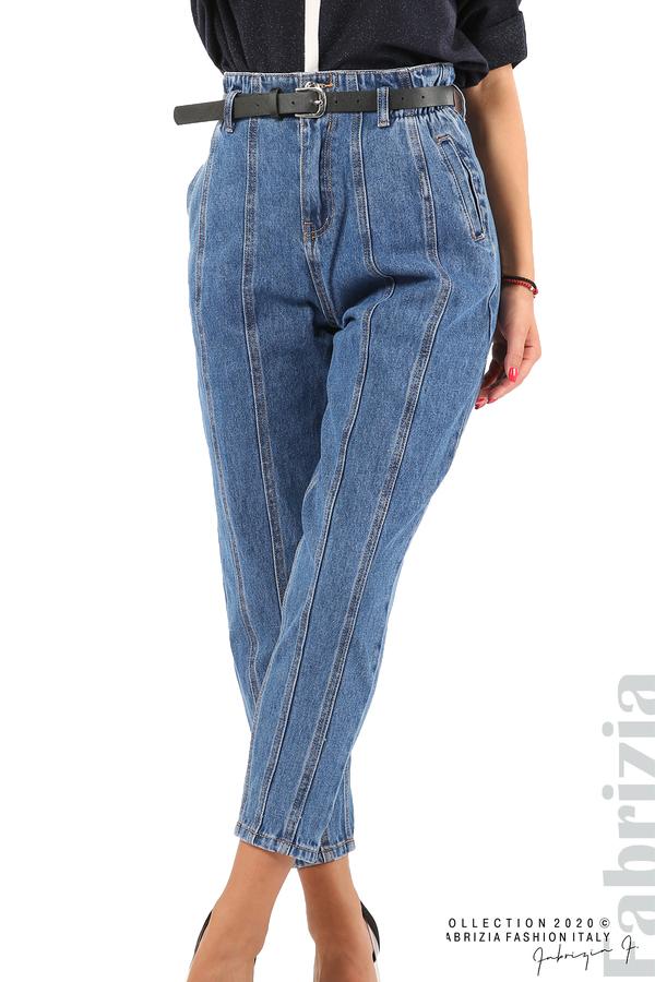 Широки дънки с външни шевове и колан-2