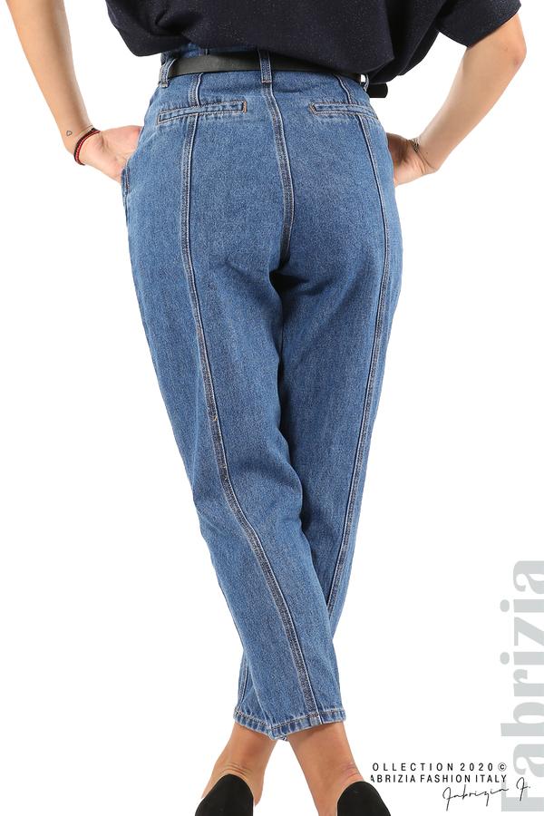 Широки дънки с външни шевове и колан-6