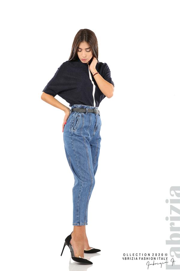 Широки дънки с външни шевове и колан-4