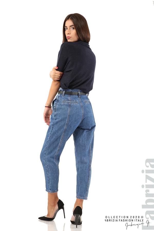 Широки дънки с външни шевове и колан-5