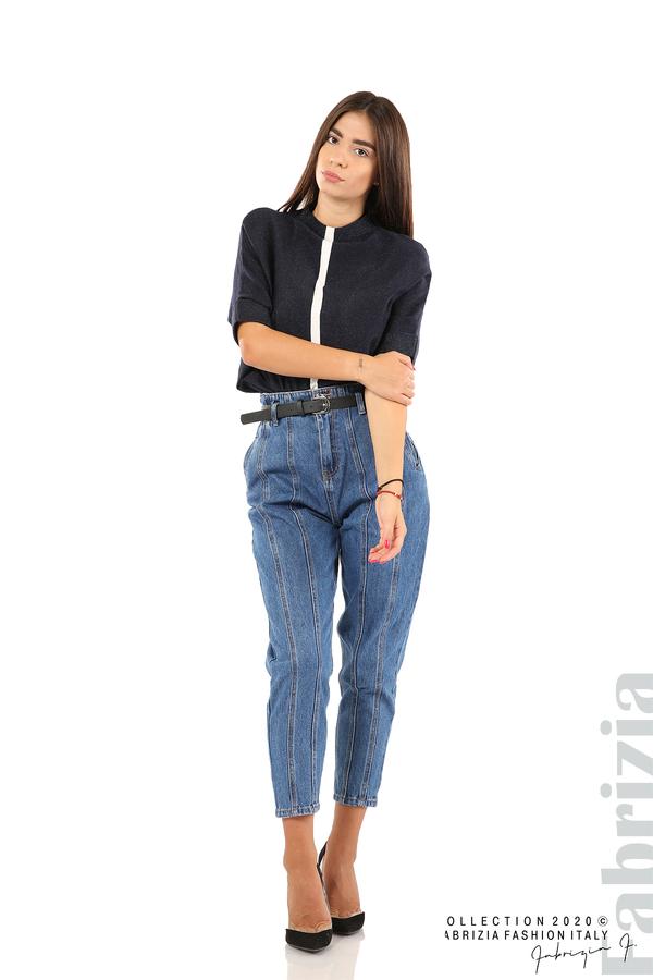 Широки дънки с външни шевове и колан-1
