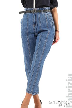 Широки дънки с външни шевове и колан
