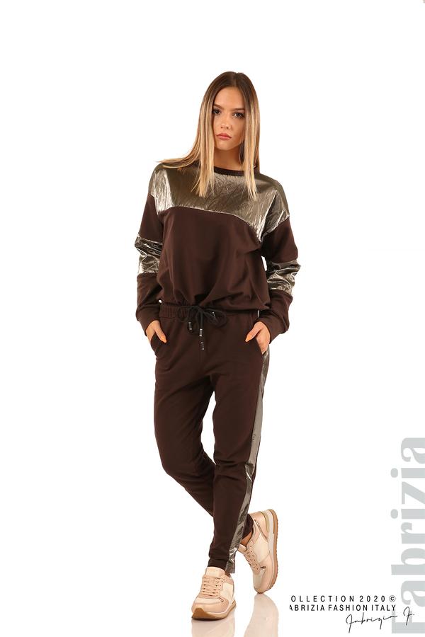 Панталон с лъскави кантове и връзки на талията-кафяв-4