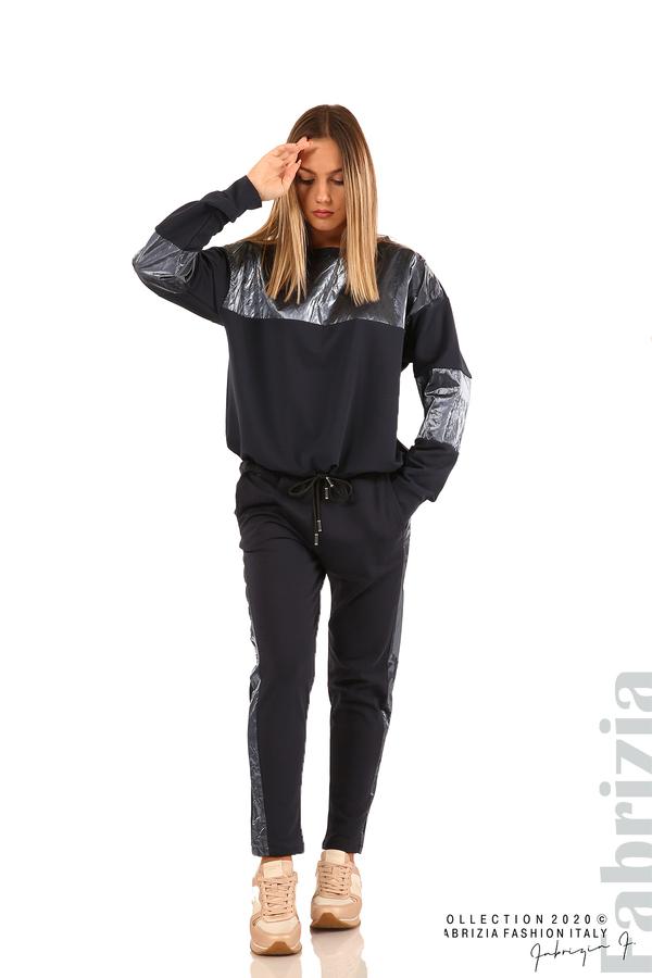 Панталон с лъскави кантове и връзки на талията-т.син-1
