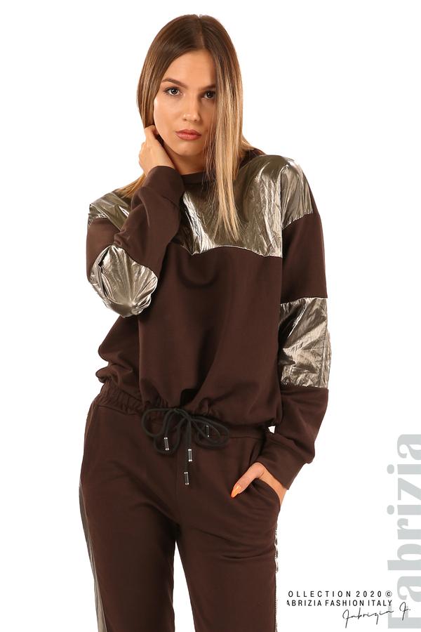 Блуза с лъскави зони и връзки-кафяв-5