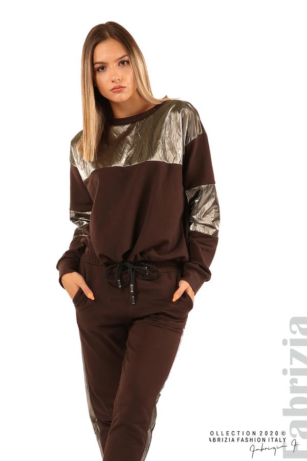 Блуза с лъскави зони и връзки-кафяв-3