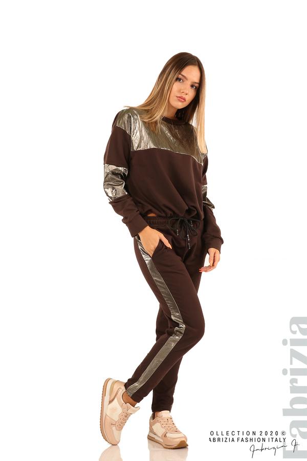 Блуза с лъскави зони и връзки-кафяв-4