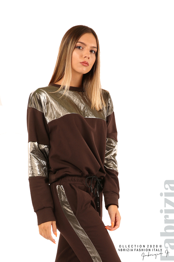 Блуза с лъскави зони и връзки-кафяв-2