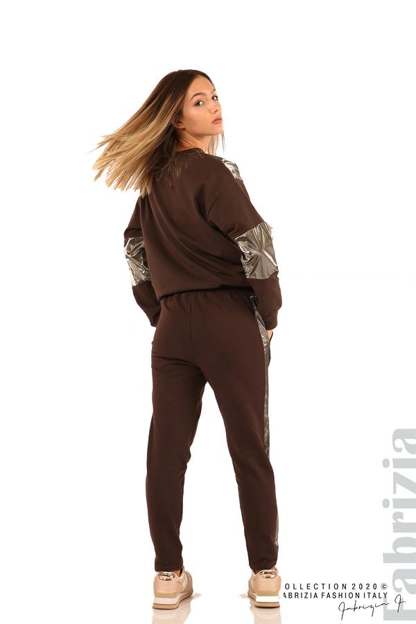 Блуза с лъскави зони и връзки-кафяв-6