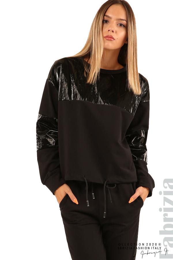 Блуза с лъскави зони и връзки-черен-5