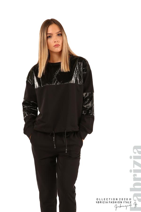 Блуза с лъскави зони и връзки-черен-3