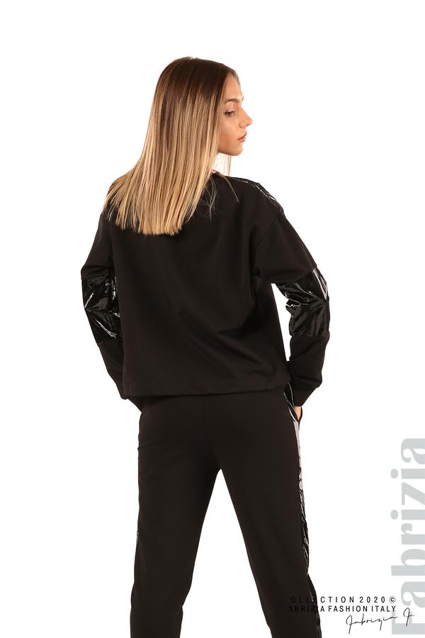 Блуза с лъскави зони и връзки-черен-6