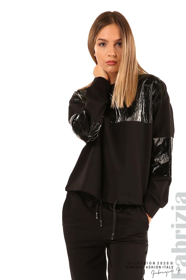 Блуза с лъскави зони и връзки-черен-2