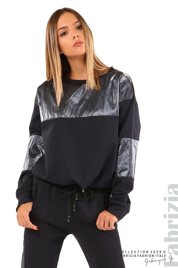 Блуза с лъскави зони и връзки-т.син-3
