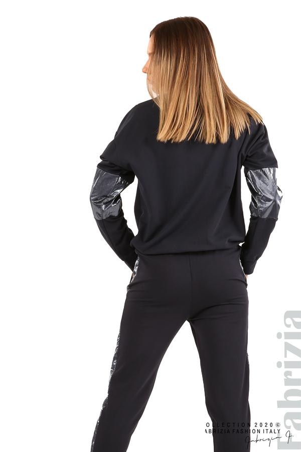 Блуза с лъскави зони и връзки-т.син-5