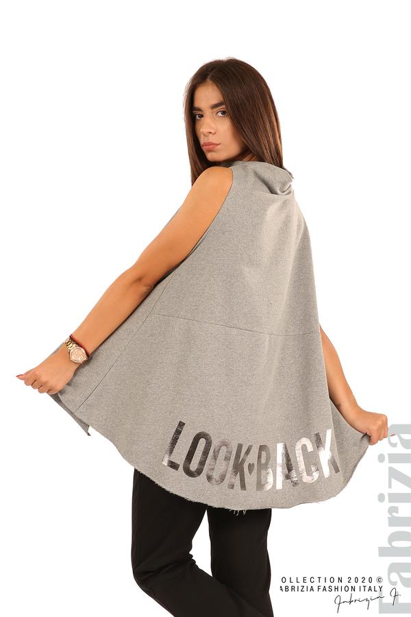 Туника с надпис на гърба Look Back-сив-4