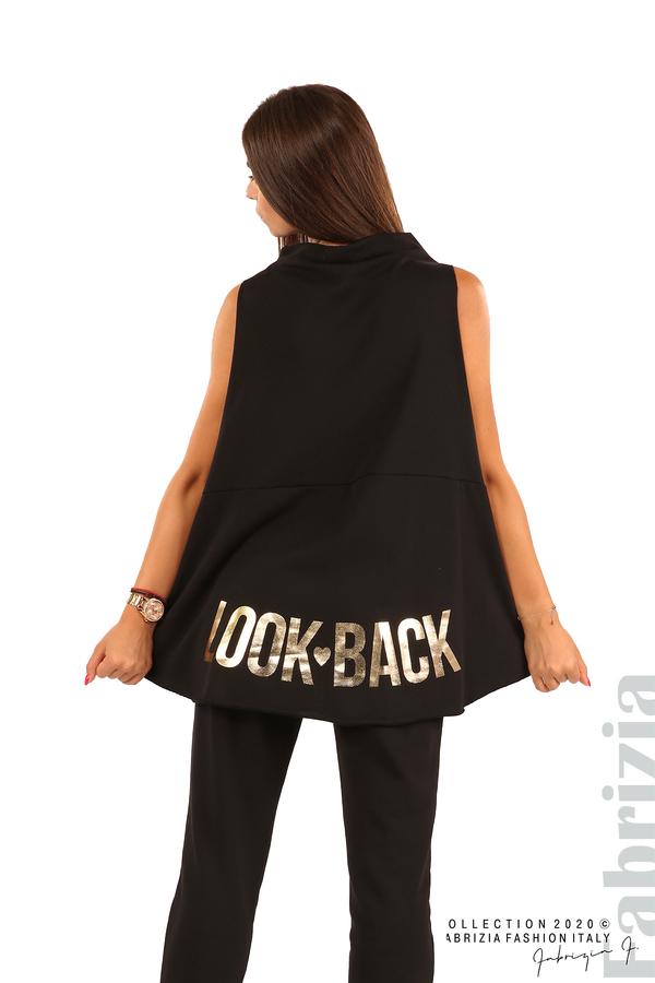 Туника с надпис на гърба Look Back-черен-5