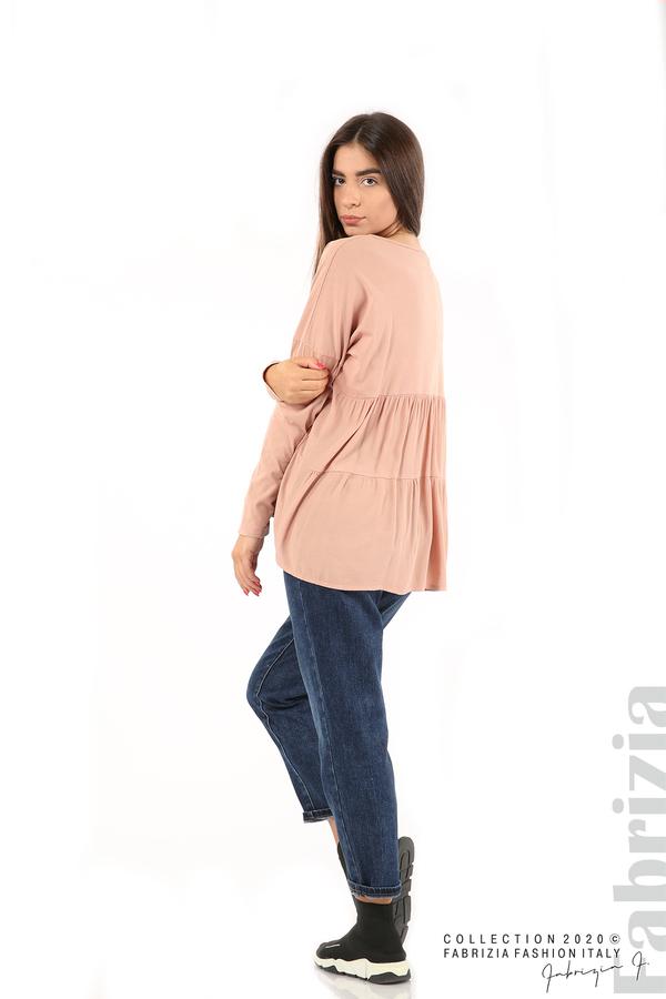 Блуза с принт и гръб жоржет пепел от рози 5 fabrizia