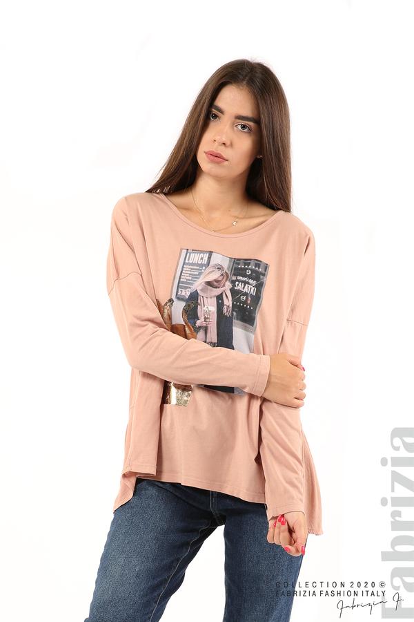 Блуза с принт и гръб жоржет пепел от рози 1 fabrizia