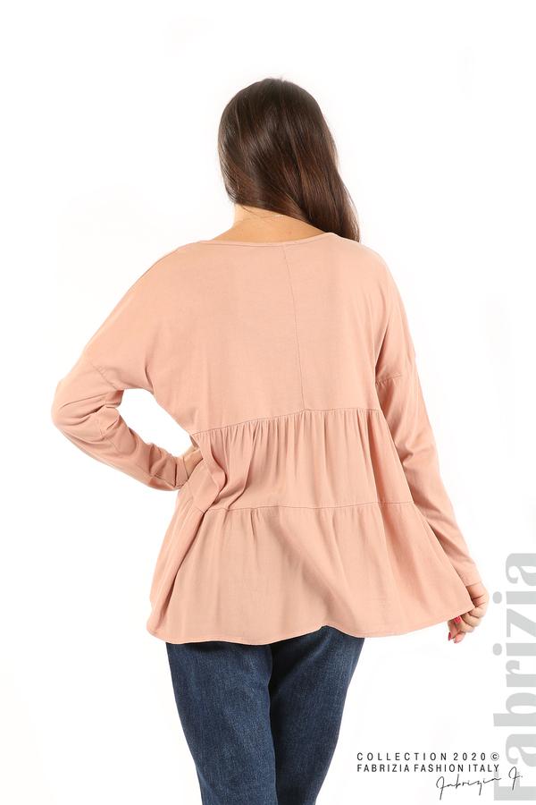 Блуза с принт и гръб жоржет пепел от рози 6 fabrizia