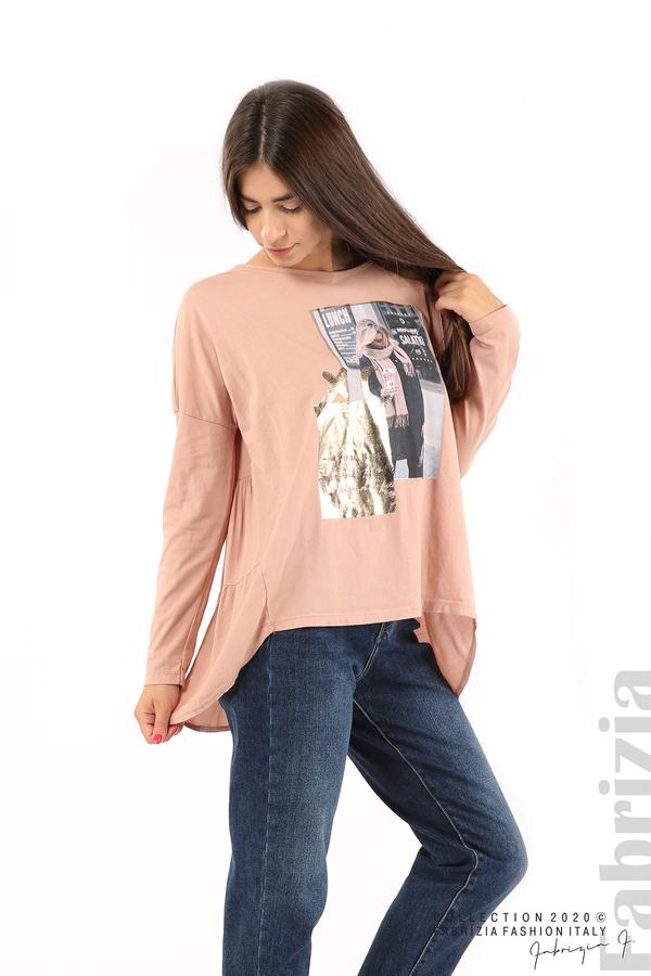 Блуза с принт и гръб жоржет пепел от рози 4 fabrizia