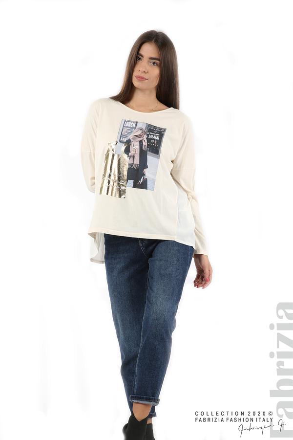 Блуза с принт и гръб жоржет екрю 3 fabrizia
