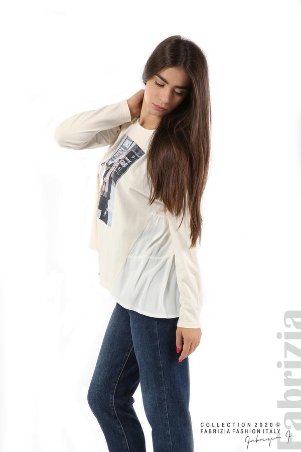 Блуза с принт и гръб жоржет екрю 4 fabrizia