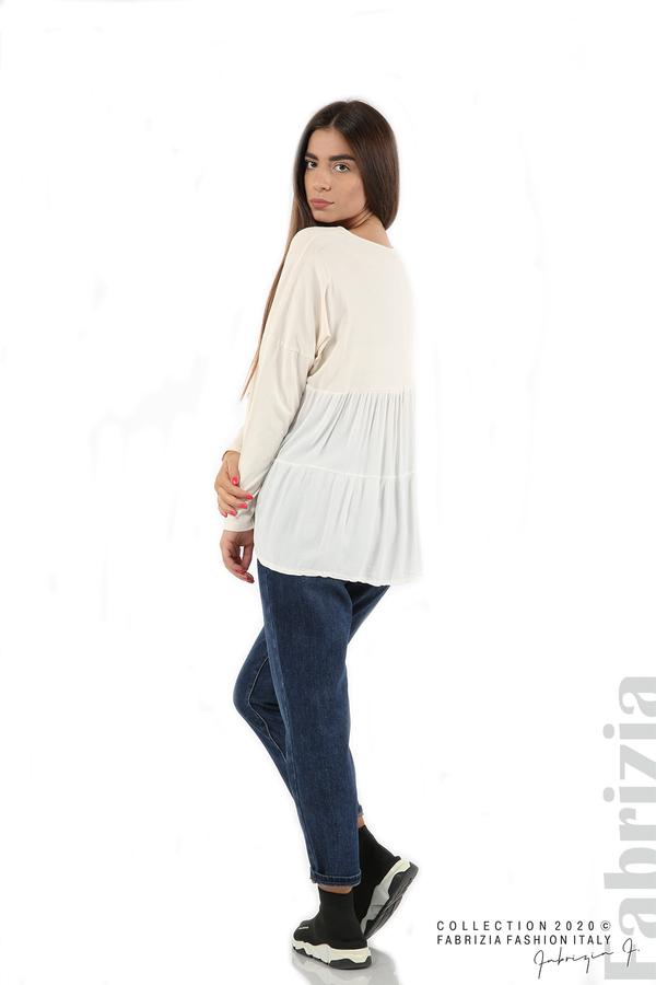 Блуза с принт и гръб жоржет екрю 5 fabrizia