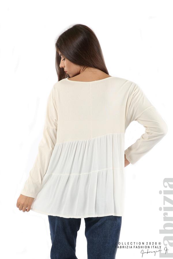 Блуза с принт и гръб жоржет екрю 6 fabrizia