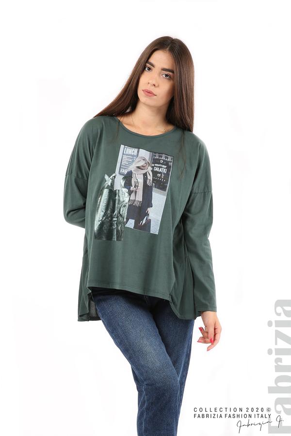 Блуза с принт и гръб жоржет т.зелен 3 fabrizia