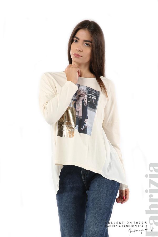 Блуза с принт и гръб жоржет екрю 1 fabrizia