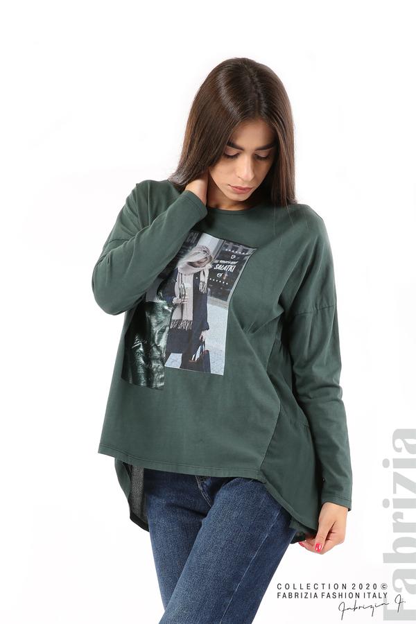 Блуза с принт и гръб жоржет т.зелен 4 fabrizia