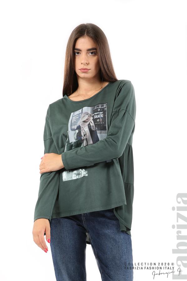 Блуза с принт и гръб жоржет т.зелен 1 fabrizia
