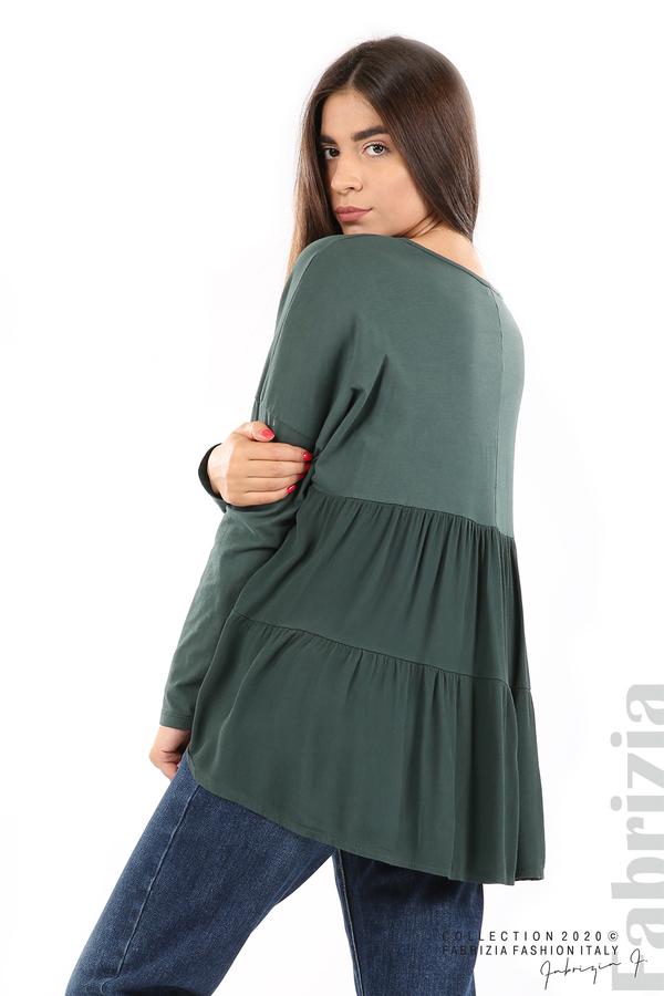 Блуза с принт и гръб жоржет т.зелен 2 fabrizia