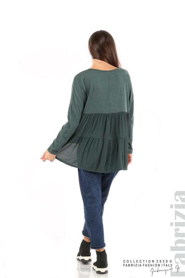 Блуза с принт и гръб жоржет т.зелен 6 fabrizia
