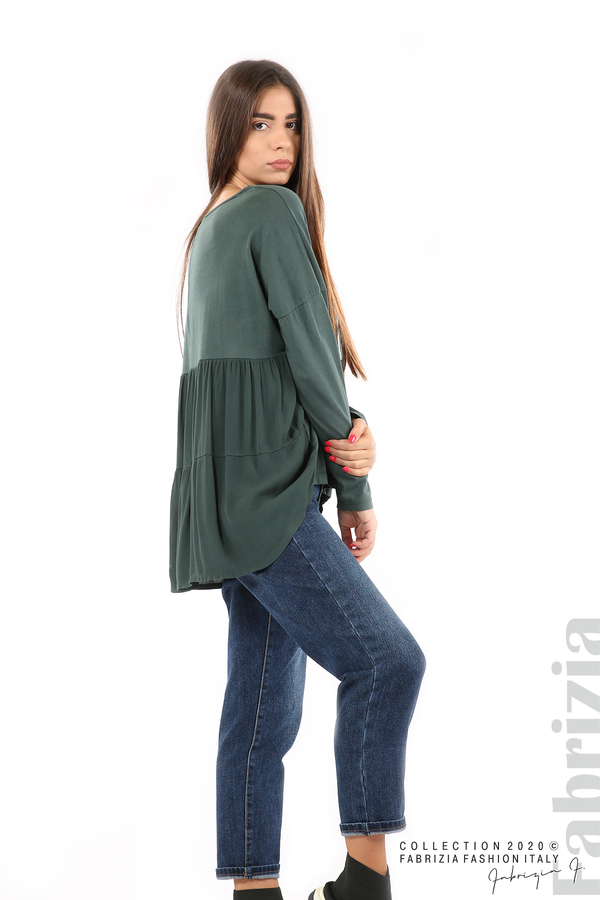 Блуза с принт и гръб жоржет т.зелен 5 fabrizia