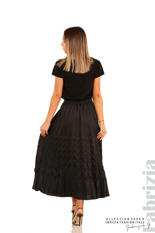 Дълга плисирана пола със зигзагообразни елементи-черен-7