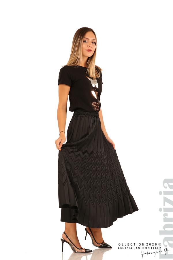 Дълга плисирана пола със зигзагообразни елементи-черен-1