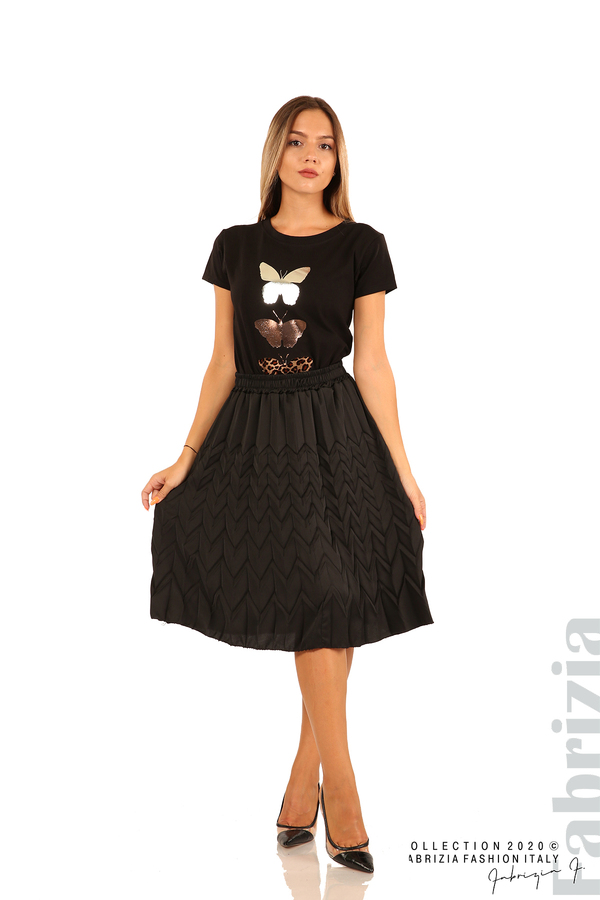 Дамска плисирана пола със зигзагообразни елементи-черен-3