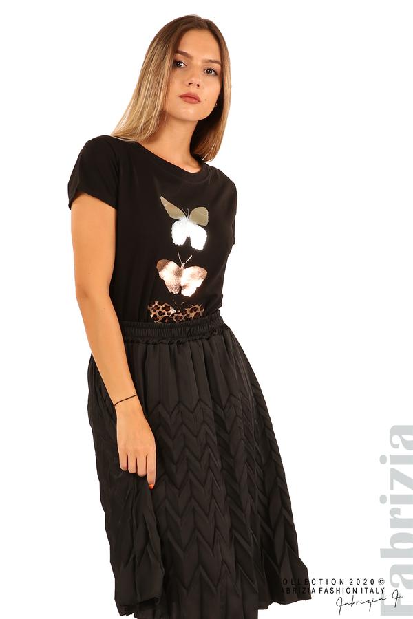 Дамска плисирана пола със зигзагообразни елементи-черен-4