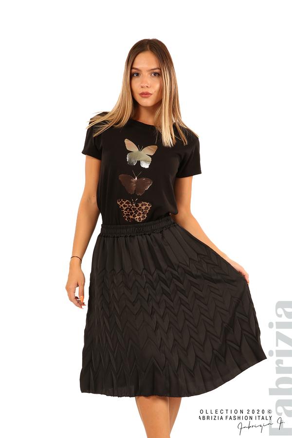 Дамска плисирана пола със зигзагообразни елементи-черен-1