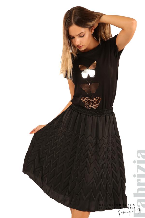 Дамска плисирана пола със зигзагообразни елементи-черен-2