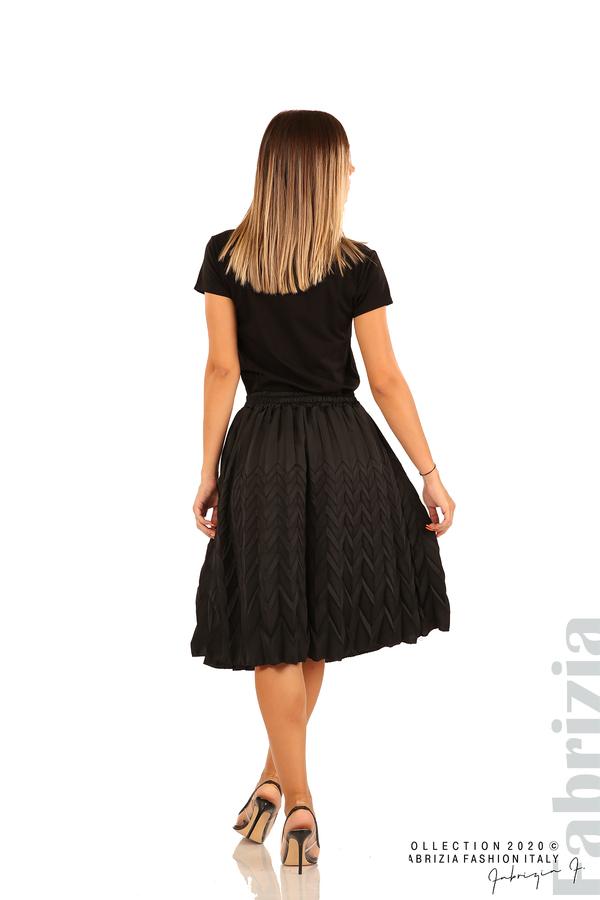Дамска плисирана пола със зигзагообразни елементи-черен-7