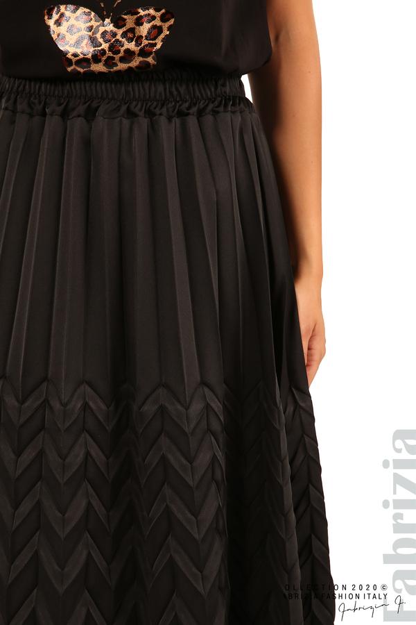 Дамска плисирана пола със зигзагообразни елементи-черен-6