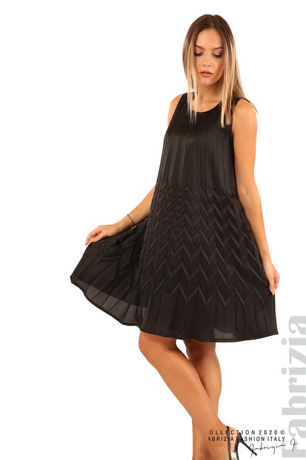 Плисирана рокля със зигзагообразни елементи-черен-5