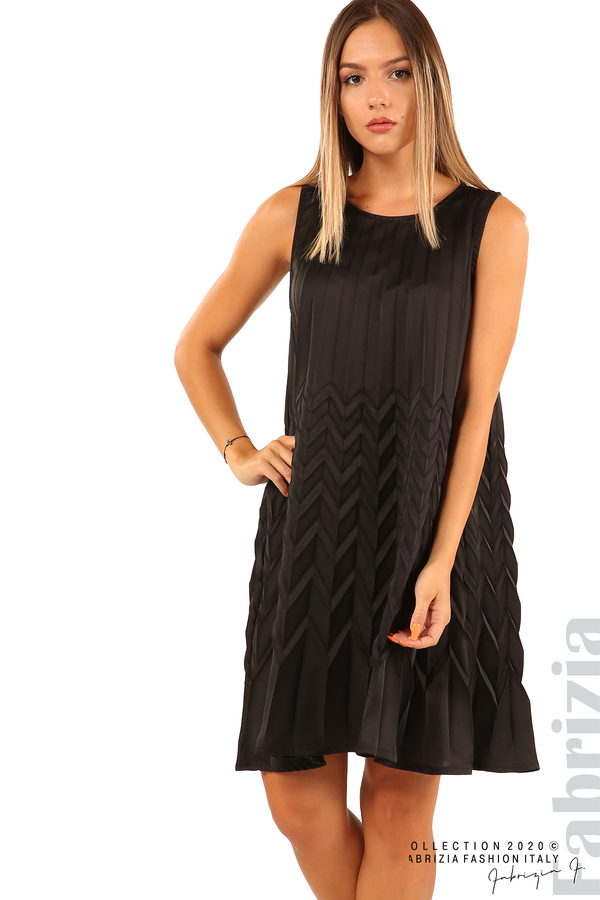 Плисирана рокля със зигзагообразни елементи-черен-2