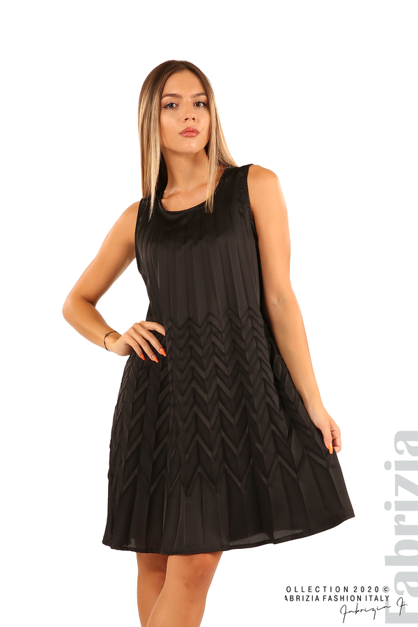 Плисирана рокля със зигзагообразни елементи-черен-1