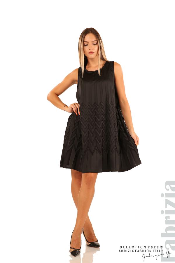 Плисирана рокля със зигзагообразни елементи-черен-3