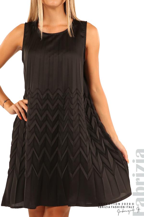 Плисирана рокля със зигзагообразни елементи-черен-4